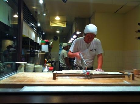 Fresh noodles being prepared.